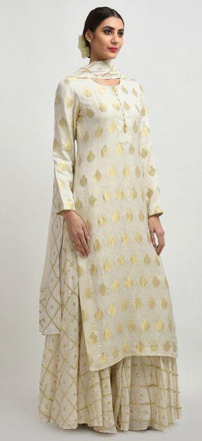 Ivory Banarasi Handwoven Zari And Sequin Embroidered Sharara Suit