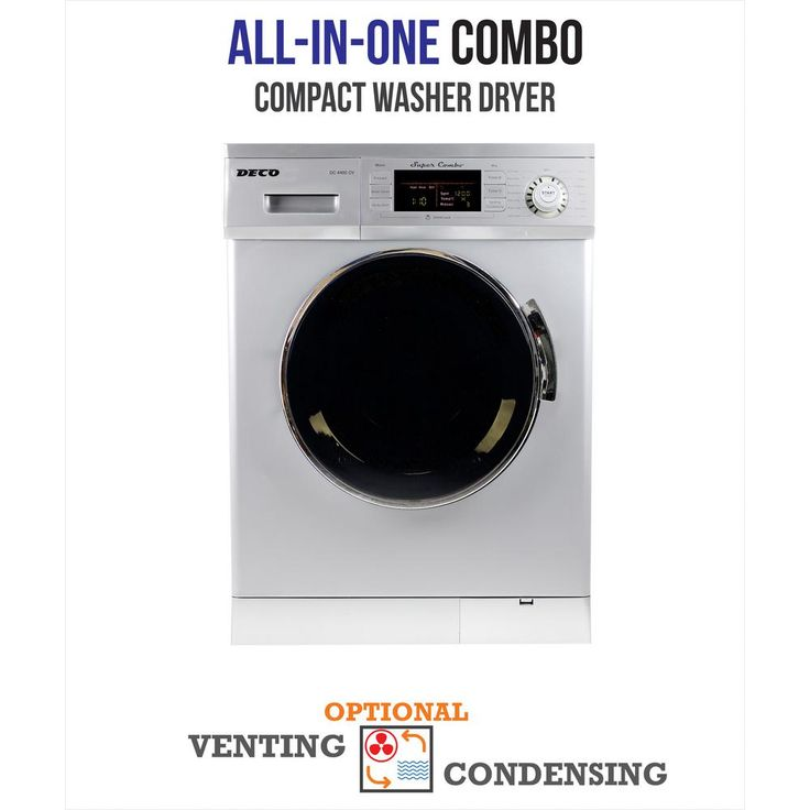Deco 1.6 cu. ft. All-in-One Compact Combo Washer and Electric Dryer with Optional Condensing/Venting and Sensor Dry in Silver, Stainless