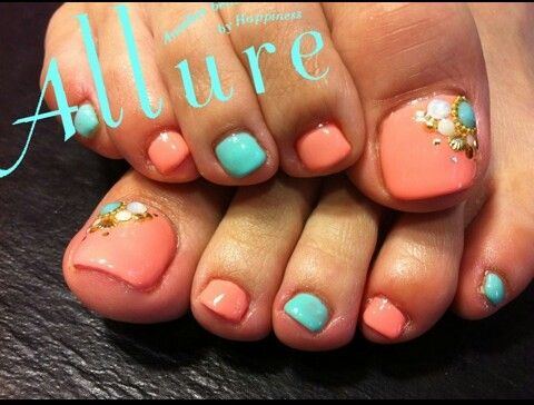 Mani Pedi Combo- Bright Teal Toes and Soft Coral Nails
