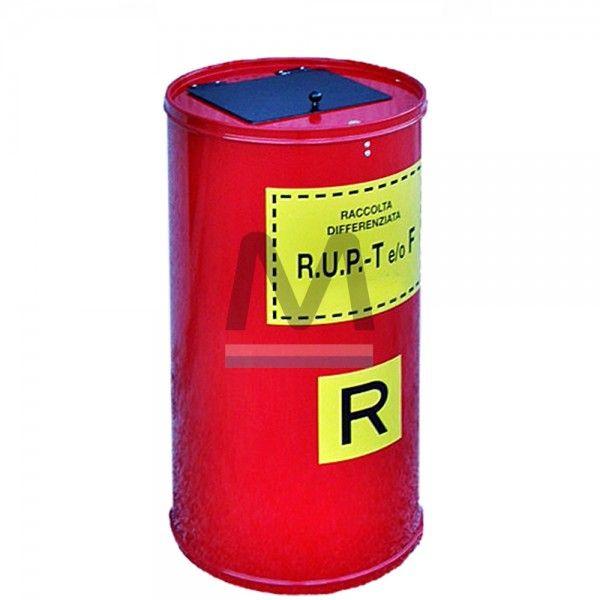 Il nostro contenitore per rifiuti urbani pericolosi ! Forma cilindrica verticale , fondo piano. Acciaio smaltato colore Rosso o Giallo lavabile e disinfettabile. Coperchio apribile con serratura a chiave. Bocchetta superiore di introduzione autoscaricante con maniglia di apertura.