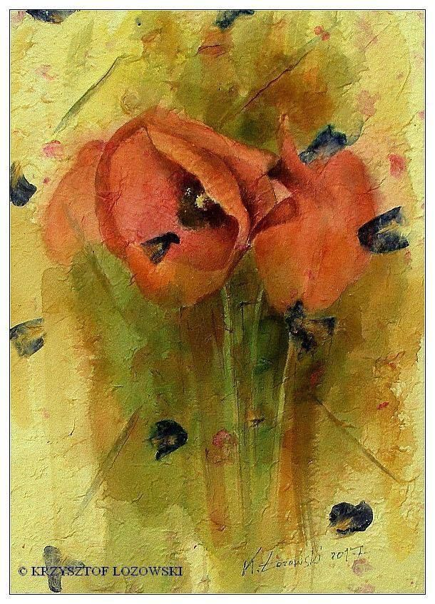 POPPIES  watercolour on hand-made paper from Thailand Krzysztof Lozowski