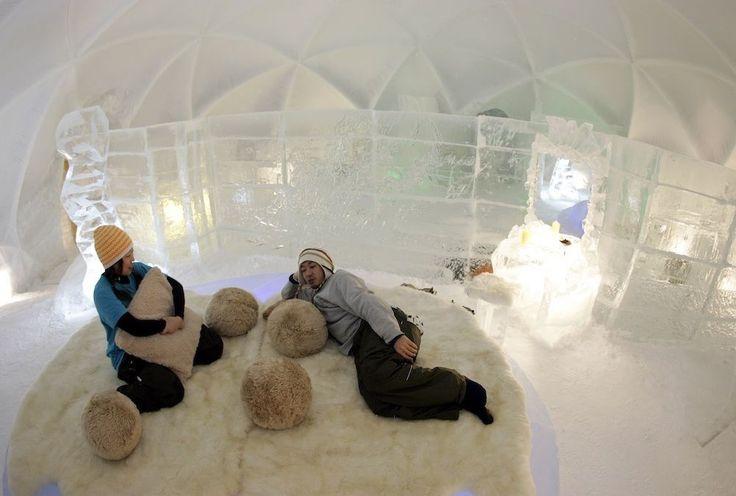 In een ijshotel overnachten