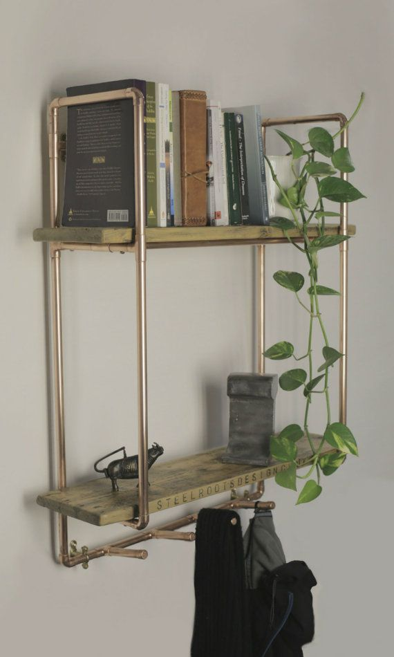 copper pipe shelving unit with coat hooks. by SteelRootsDesign