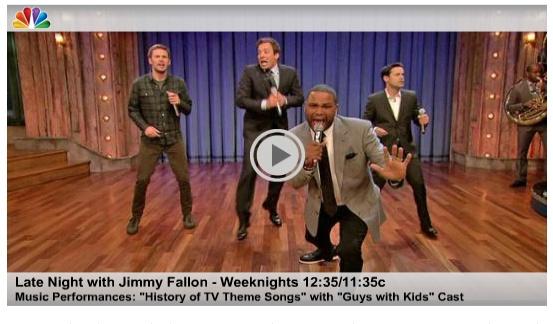 Jimmy Fallon's TV theme medley with 'Guys With Kids' cast    http://blog.zap2it.com/pop2it/2012/09/jimmy-fallons-tv-theme-medley-with-guys-with-kids-cast---amazing.html