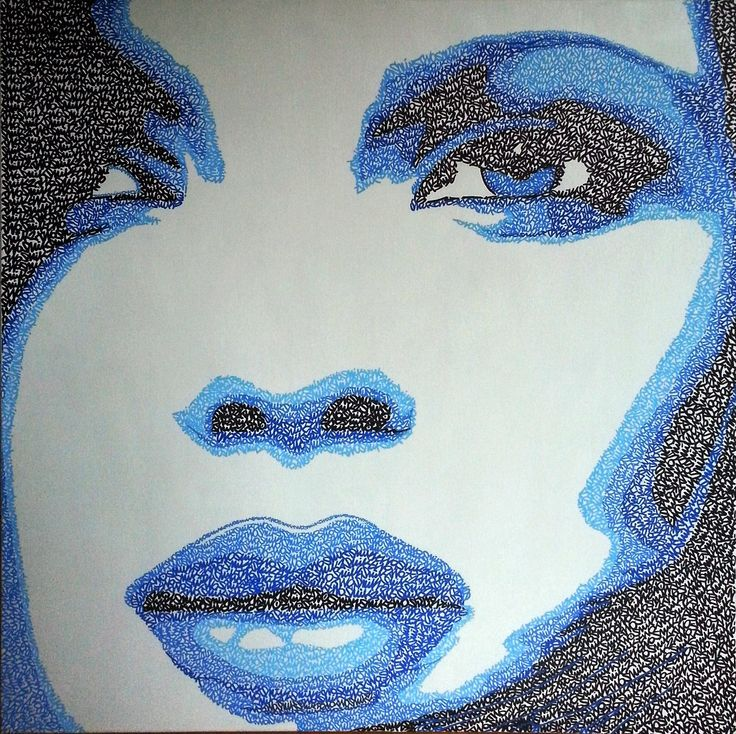 SnikTwo - Graffiti contemporain  Blue girl Toile 80x80cm 2012  Plus sur : www.facebook.com/sniktwo  #sniktwo #graffiti #tags #toile #streetart #art #tableau #peinture #girl #canvas