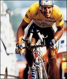 Miguel Indurain is a Spanish road racing cyclist.that won five consecutive Tours de France from 1991 and 1995, the first to do so, and the fourth athlete to win five times. He won the Giro d'Italia twice, becoming one of only seven people in history to achieve the Giro Tour double in the same season. He wore the race leader's yellow jersey in the Tour de France for 60 days. Indurain's ability and physical size—1.88 m (6 ft 2 in) and 80 kg (176 lbs)—earned him the nickname Miguelón/Big Mike.