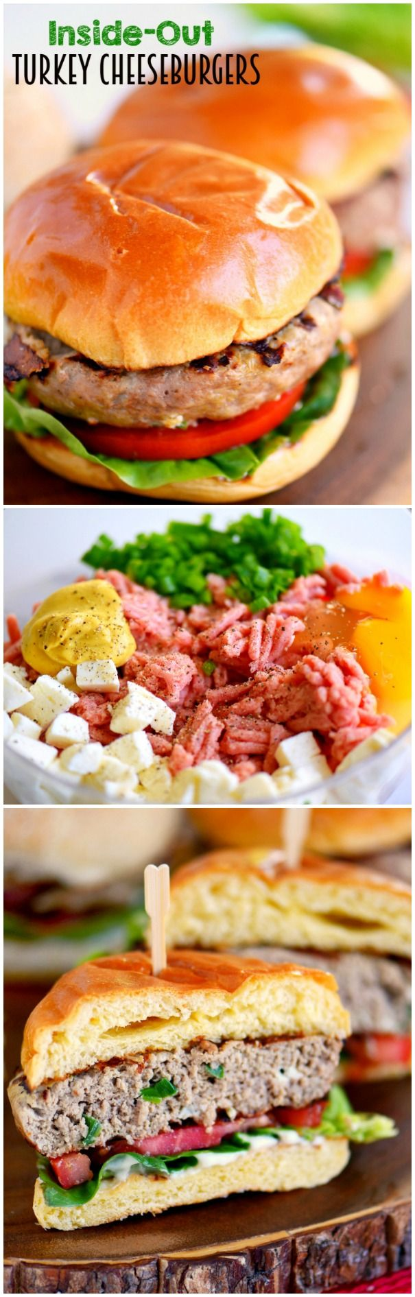 Fire up that grill and throw on these Inside Out Turkey Cheeseburgers! Loaded with flavor and filled with fresh mozzarella cheese, green onions, and Dijon mustard - these easy burgers are going to light up your 4th of July celebration! #ad