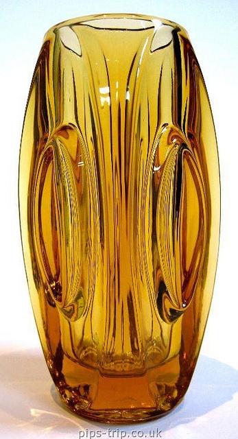 1955 Rosice Sklo Union Glass (Czech) Amber Lens Vase by Rudolf Schrotter