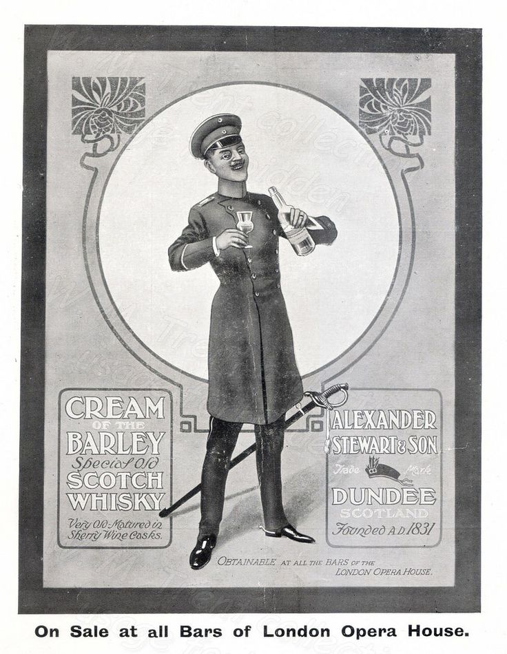 From London during 1912 ~ an advertisement for Scotch whisky by Alexander Stewart of Dundee.