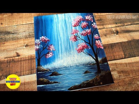 Drawing Challenge 14 Acrylic Easy Waterfall Landscape Painting Tutorial For Beginners Step By Step Landscape Painting Tutorial Colorful Oil Painting Painting