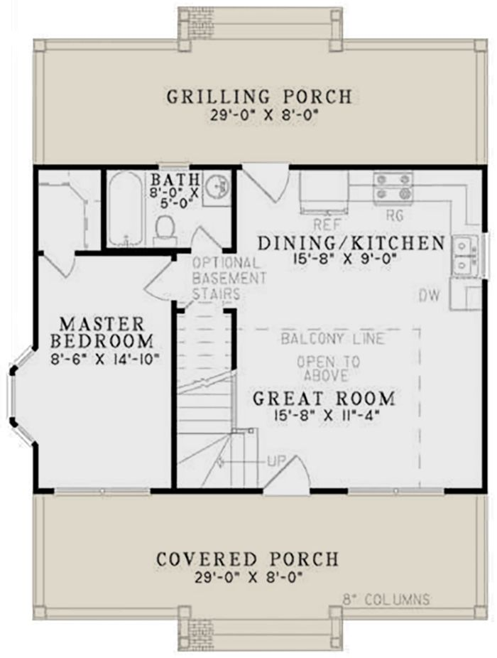 House Plan 110 00632 Small Plan 975 Square Feet 2 Bedrooms 1 Bathroom Small House Plans Stairs Floor Plan Small House Layout