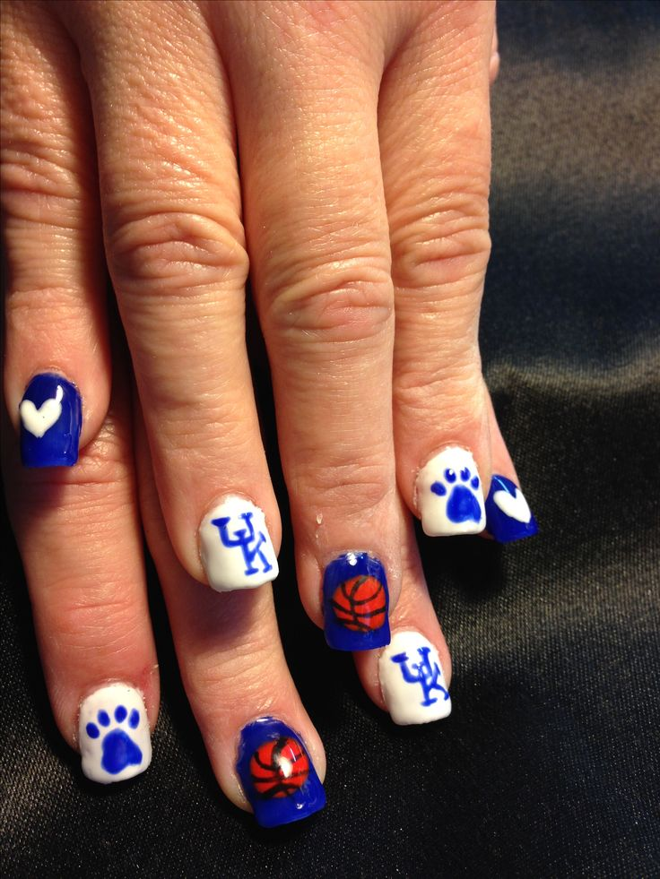 File 'n Style Nail Spa. Becky Hurt nail artist. Celebrating the University of KY Wildcats basketball team.