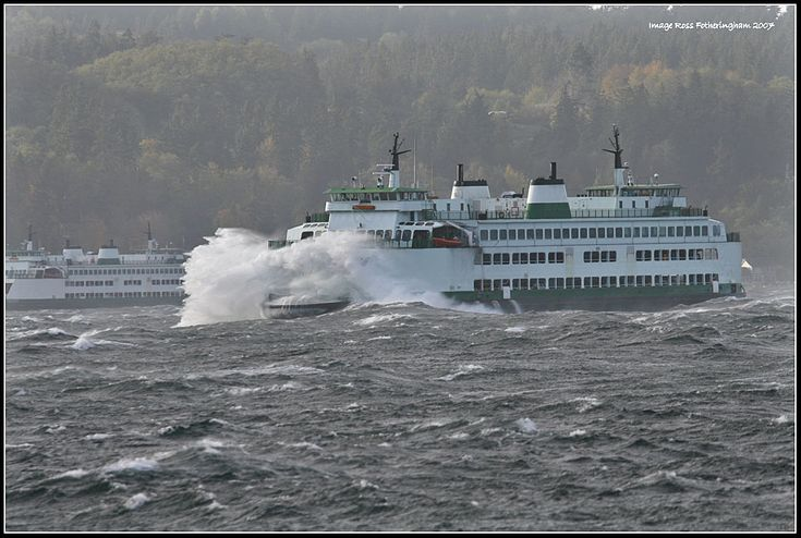 Ross Fotheringham photo: On Thursday October 18th Western Washington was hit with a 50+ MPH wind storm.  The Mukilteo to Clinton ferry {was} taking a pounding. These Issaquah 130 Class ferries are over 300 feet long and 78 feet wide and weigh in at 2477 tons (4,954,000 lbs) unloaded. . . I'll start with some Rock & Roll. . .