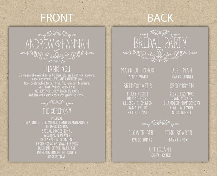 Sample New Wedding Program Popular Items For On Etsy
