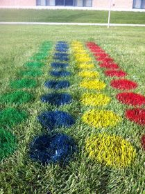 We had our annual field day today! I wanted to do something different this year, and I found this idea for lawn twister on Pinterest. It ...