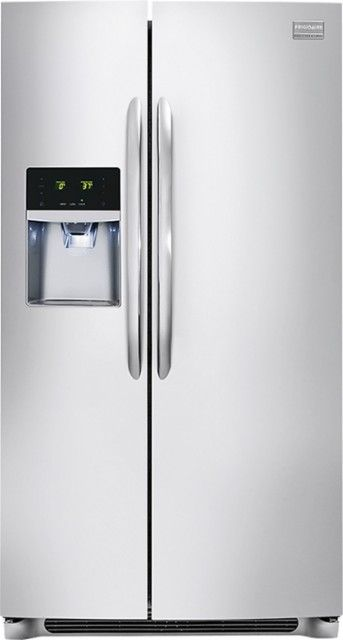 Frigidaire - Gallery 25.6 Cu. Ft. Frost-Free Side-by-Side Refrigerator with Thru-the-Door Ice and Water - Stainless Steel - Front_Zoom
