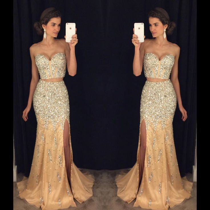 Prom Dress,Modest Prom Dress,Sparkly Prom Dresses,Pageant Gowns,Two Piece Prom Dresses,Mermaid Evening Dress,Long Prom Dresses 2017,Prom Dresses Long Mermaid,Two Pieces Party Dresses,Prom Dresses with Slit,Beaded Crystals Party Dresses