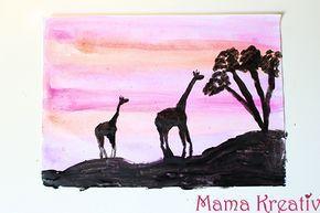 African Painting and Art For Kids. Sunset and Giraffes. Afrika malen mit Kindern. Afrikanische Kunst. Malen und Basteln im Kindergarten Sonnenuntergang und Giraffen