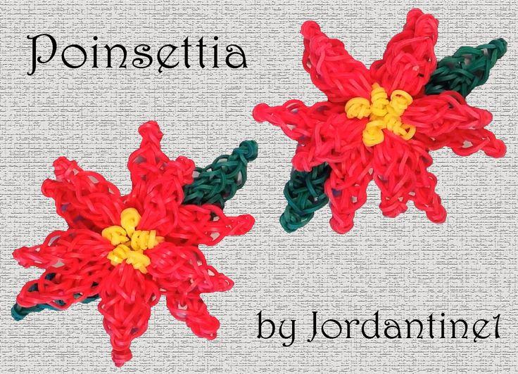 Poinsettia Flower Charm - Rainbow Loom or Monster Tail - Christmas Holid...