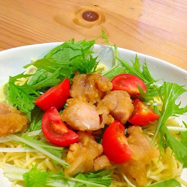 インスタント麺&冷凍唐揚げ&水菜で手抜き冷やし中華♫ - 6件のもぐもぐ - インスタント麺で簡単冷やし中華 by eri0416