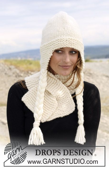 """Set comprising: DROPS hat in stocking st and scarf in garter st in """"Eskimo"""". ~ DROPS Design"""