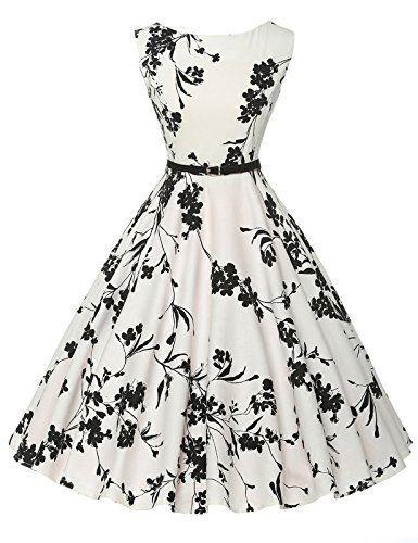 GRACE KARIN® 1950s Audrey Rockabilly Robe de Cocktail Rétro Imprimée Sans Manche: Description: Cette robe rétro de cocktail florale à col…