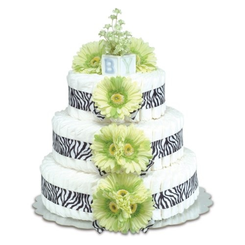 Three-Tier Green Daisies with Zebra Diaper Cake by Beau-coup