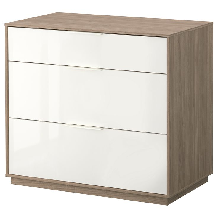 NYVOLL Chest of 3 drawers - light grey/white - IKEA