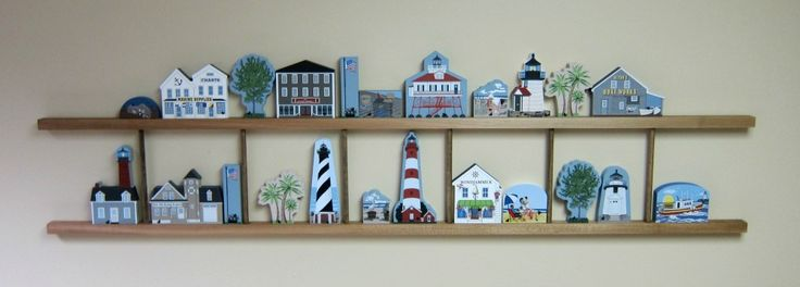 """Ladder Shelf 54"""" can hold 12 to 18 Cat's Meow houses and accessories. Create any theme you want and simply hang it with 2 nails."""