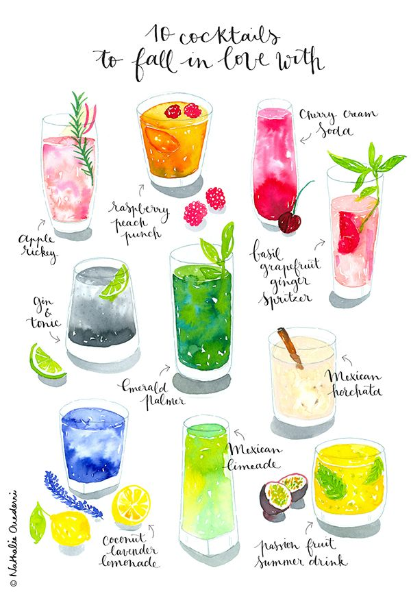Watercolor cocktails on Behance | Nathalie Ouederni