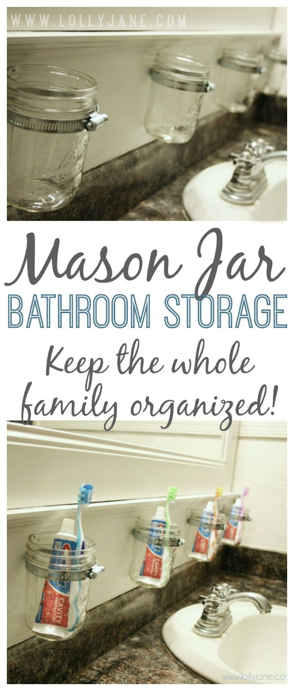Stay organized! Mason jar bathroom storage. Easy to install! No fighting kids! {lollyjane.com}
