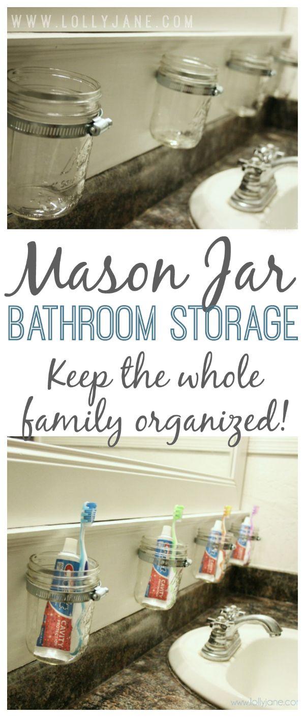Kids bathroom: Stay organized! Mason jar bathroom storage.