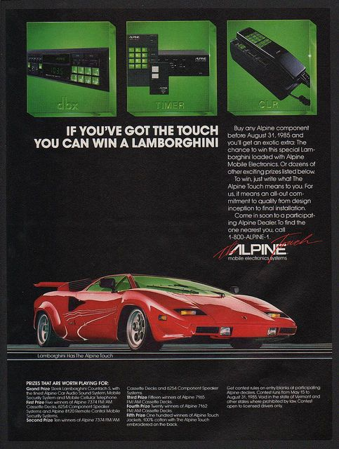 """If You've Got The Touch You Can Win A Lamborghini"" - 1985 Alpine car phone ad : vintageads"