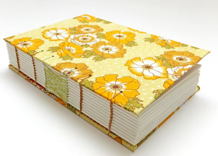 Wedding Guest Book, Retro Fabric Journal, Hand Sewn Notebook, Spring Journal, Yellow Flowers, Keepsake Notebook, Sketchbook by PeonyandThistle on Etsy https://www.etsy.com/uk/listing/289859989/wedding-guest-book-retro-fabric-journal