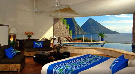 Jade Mountain offers luxury all inclusive St Lucia honeymoon, vacation and wedding packages. Incredible views from incredible rooms along with great scuba and snorkeling right from the shore make this resort one of our favorites in St Lucia. If you are looking for the most luxurious resort in St Lucia, you have found it.
