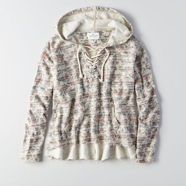 AEO Lace-Up Hoodie ($45) ❤ liked on Polyvore featuring tops, hoodies, floral, lace up hoodie, lace up hoodies, floral hoodies, floral hoodie and white top