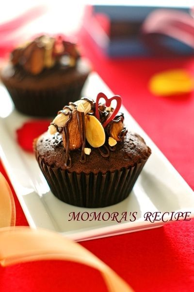 ホットケーキミックスHMとレンジで超簡単4分お菓子♡バレンタインにフワフワ濃厚チョコレートカップケーキ/マフィン♡オーブンでもOK