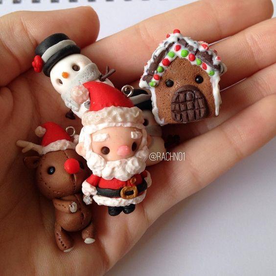 Fimo: verschiedene weihnachtliche Anhänger; Kawaii!⛄❄