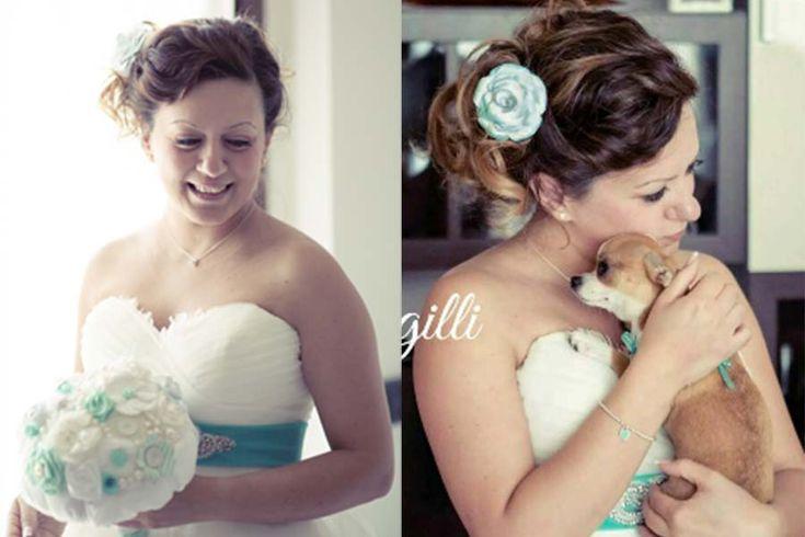Sposa con bouquet tiffany. Tiffany wedding. Vuoi vedere altri dettagli di questo matrimonio a tema tiffany? Vai qui: http://www.trilliegingilli.com/matrimonio-tiffany-tema-dolci-laura/