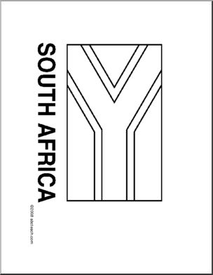 Flag: South Africa - Line drawing of South African flag to color.