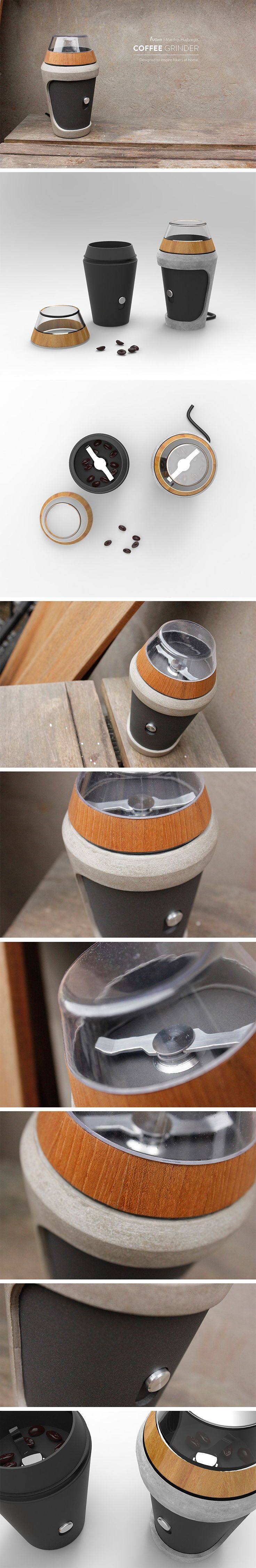 Designer Matthijs Huijbregts focused on a coffee grinder that was aimed at hikers. He incorporated familiar fragments in the form of material and shape that would consciously or subconsciously appeal to this unique subgroup of athletes. First, its shape looks to nature for a form that is at once modern and organic. Its exterior material composition includes wood and stone which also reminds one of familiar textures and matter they might see on a hike in the woods.