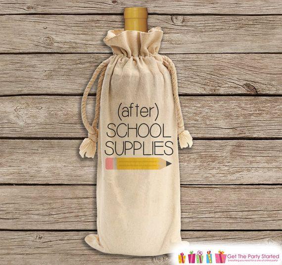 After School Supplies for Teacher  Wine Gift by getthepartystarted