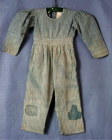 Skeleton suit, Boy's blue and white striped denim,1820-1829