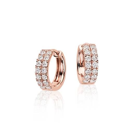 Perfect for a look of sheer elegance, these petite hoop earrings feature a two rows of sparkling round brilliant diamonds framed in 14k rose gold.