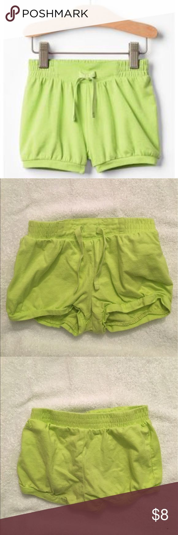 Baby Gap Green Bubble Shorts Baby Gap Neon Green Jersey Bubble Shorts. Size 3T. 100% soft cotton jersey. Drawcord ties at comfy, elasticized waist. Elasticized cuffs. I have multiple colors. Bundle to save! GAP Bottoms Shorts