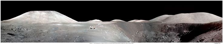 In December of 1972, Apollo 17 astronauts Eugene Cernan and Harrison Schmitt spent about 75 hours on the Moon in the Taurus-Littrow valley, while Ronald Evans orbited overhead. This panorama is digitally stitched together from pictures taken by Cernan as he and Schmitt roamed the valley floor. Starting with a view of the South Massif, scrolling to the right will reveal Schmitt and the lunar rover at the edge of Shorty Crater, near the spot where geologist Schmitt discovered orange lunar…