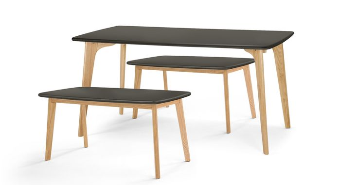 Fjord Rectangle Dining Table and Bench Set, Oak and Grey