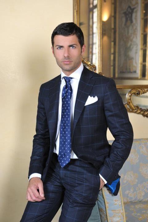 Bespoke. Men's blue windowpane suit.