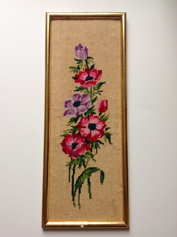 Vintage Floral tapestry canvas. 1970 Anemone flowers bunch