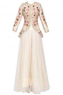 Off White Floral Embroidered Victorian Jacket and Skirt Set #rashikapoor #elegant #shopnow #ppus #happyshopping